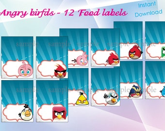 Angry birds food labels, Angry birds party, Angry birds birthday invitation - instant download