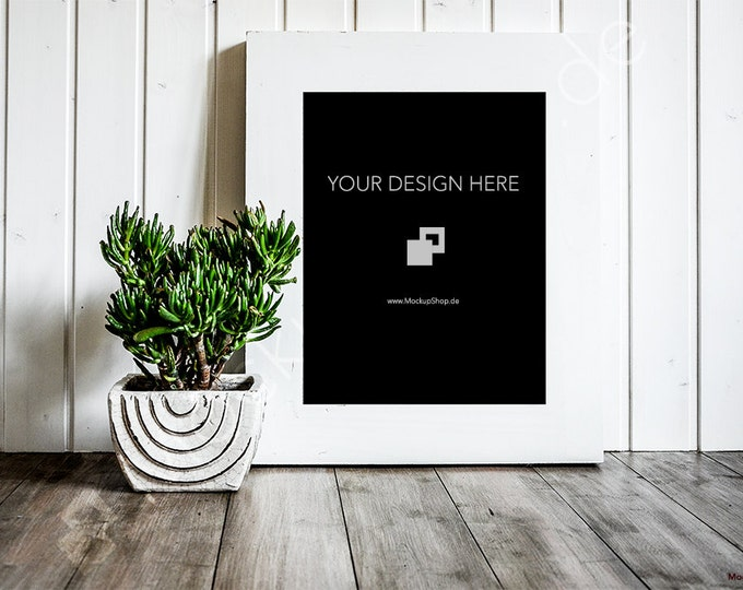 11x14 FRAME MOCKUP WHITE Frame with a green flower on a shabby ground / Empty Mockup Frame / Empty Frame / wooden background / Stock Frame