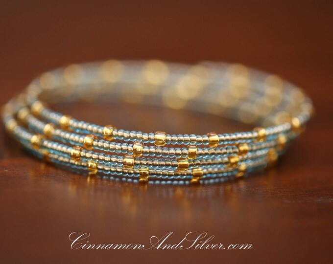 Light Blue and Gold Hippie Seed Bead Adjustable Memory Wire Bangle Bracelet, Blue Memory Wire Bracelet, Blue Coil Wrap Seed Bead Bracelet