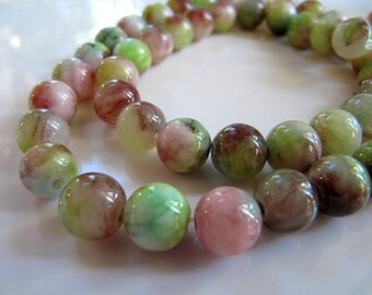 8mm Mountain JADE Beads in Pear Green, Rosewood Pink and Cream, Dyed, Round, Smooth, Full Strand, 51 Pcs, Candy Jade, Gemstones