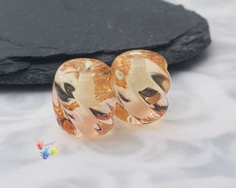 Lampwork Beads Handmade, Ombre Beads, Small Beads English Tea Rose Ombre Twists Pair, Two Tone