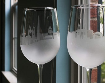 Etched Washington D.C. Skyline Silhouette Wine Glasses