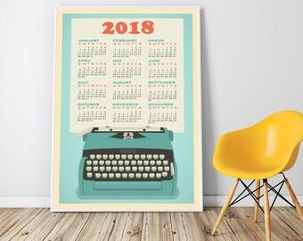 Large Wall Calendar 2018 Framed Yearly Wall Calendar, 2018 Poster Calendar, Retro Typewriter Calendar, Unframed, Framed Print, Coworker Gift