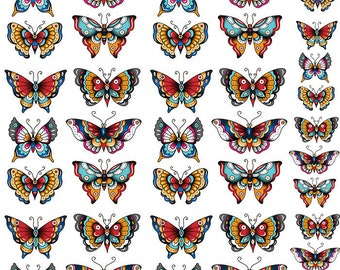 Tattoo Butterflies - Ceramic Decals- Enamel Decal - Fusible Decal - Glass Fusing Decal ~ Waterslide Decal - 21109