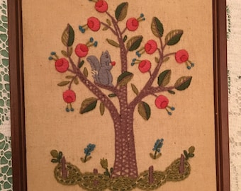 embroidered squirrel in fruit tree