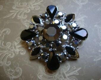 Black Rhinestone Jewelry Piece Applique Metal Jewelry Supplies Rhinestone Pendant OC