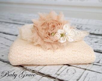 Newborn Wrap Set, Newborn Headband and Wrap, Newborn Photo Prop, Newborn Stretch Wrap, Newborn Girl Photography Prop, Headband and Wrap