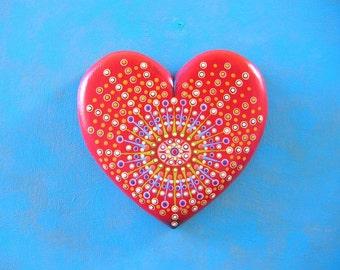 Heart Wall Art, Little Mandala Heart, Original Wood Wall Sculpture, Wood Carving, Heart Wall Art, Painted Sculpture, by Fig Jam Studio