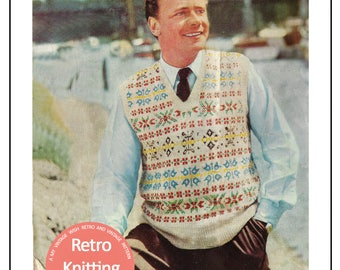 1950s Men's Fair Isle Pullover Vintage Knitting Pattern - Instant Download - PDF