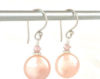 Coin Pearl Earrings - Pink Coin Pearls - Pink Pearl Earrings - Pink Pearl Jewelry - Pink Wedding