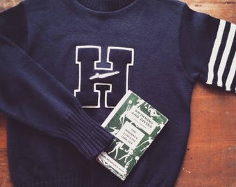 """Vintage 1950s Blue Wool """"H"""" Varsity Letter Sweater, Swimming"""