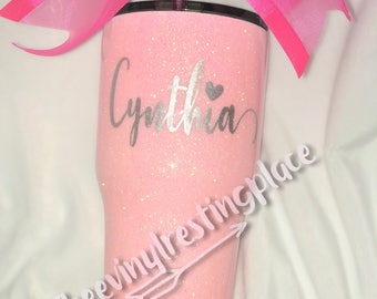 Pink Glittered 30 oz. Can be personalized or different colored glitter