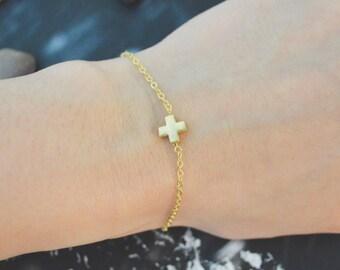 C-181 Cross bracelet, Simple bracelet, Gold plated/Everyday jewelry/