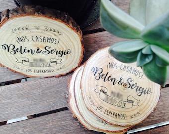 Wedding Invitations. Wood invitations. Invitations sliced wood. Wood Coasters. Coasters. Rustic wedding. Wood slices