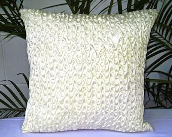 18x18 pillows, Ivory Throw Pillow, White Throw Pillow, Smocking Pattern, Decorative Throw Pillow, Cushion Cover - 'Ivory Waves'