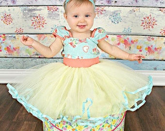 Aqua floral dress, Flower girl dress, country Floral dress,  girls party dress, aqua,  yellow, peach, 1st birthday girl outfit toddler dress