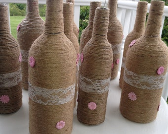 10 Twine Wrapped Wine Bottles with Lace and Pink Flowers, Jute Wedding Centerpiece, Shower, Rustic