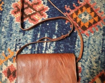 Handmade camel leather chocolate bag beautifully made in Morocco Arabic oriental design
