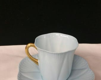 Shelley England Turquoise Teacup and Saucer