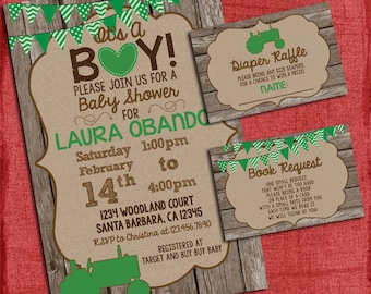 Tractor Baby Shower Invitation  Set with Diaper Raffle and Book Insert- Baby Boy shower - Green Tractor -I design you print
