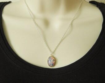 Fire Opal Necklace, Fire Opal Pendant, Silver Fire Opal Necklace, Silver Necklace, Necklace