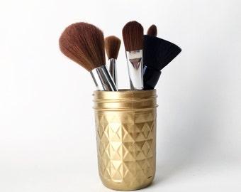 Makeup Brush Holder - Makeup Container - Rose Gold Vase - Makeup Holder - Rosegold Decor - Makeup Orangizer