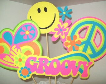 Retro Centerpiece/ Groovy/ Happy Birthday/ Smiley Face/ Love/ Flower Power