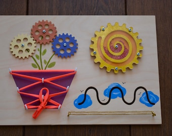 Wooden Busy Board, Wooden Montessori Toy for Toddler, Motor Activity Toy, Sensory Board, Lock Board, Educational game