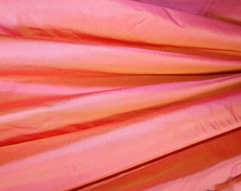 "Pure Silk Dupion Shantung Dupioni in CORAL yarn dyed shot fabric  137 cm (54 "") Wide available by the metre"