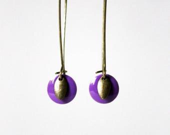 Sequin purple enamel earrings