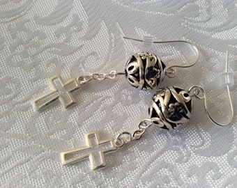 Pretty Antique silver filigree dangle drop earrings with silver plated cross