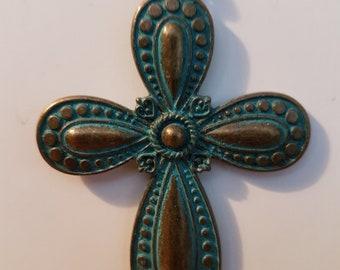 Patina Brass Cross Necklace