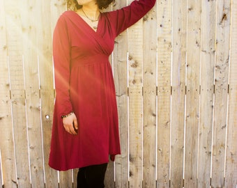 SAMPLE SALE - Long Sleeve Lotus Dress - M/L - Ruby Red - Organic Cotton Blend - As Pictured Ready to Ship - Handmade in U.S.A. - Valentines