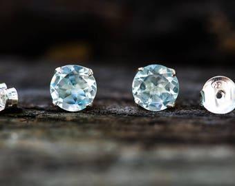 Blue Topaz Stud Earrings 8mm - Blue Topaz Sterling Silver 8mm stud earrings 8mm Earrings - Sterling Silver Stud Earrings - Blue Topaz Studs
