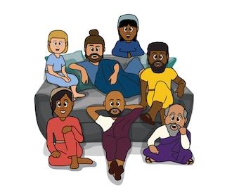 Custom Cartoon Portrait (Group)