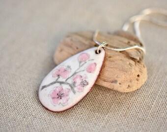 Cherry Blossom Necklace Enamel Artisan Necklace Sakura Necklace Enamel Flower Pendant Gift for Her Artisan Jewelry by Alery