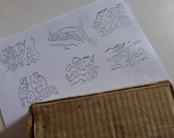 6 Rubber Stamps, Old French School. Petite Poucet, Original Box , Circa 1950's