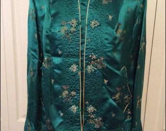 Vintage 50's/60's Custom Tailored Emerald Satin Asian Jacket