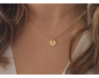 gold initial jewelry • gold circle necklace • initial gold necklace • initial gold disc • 1, 2 , 3, 4, 5 discs • personalized necklace •B098