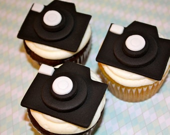 PHOTOGRAPHER CAMERAS / PICTURE Days -  Fondant Cupcake, and Cookie Toppers - 2 Dozen