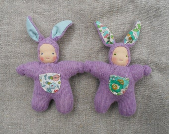 Pure wool and liberty print, Bunny Waldorf cuddle doll, Easter bunny doll, completely natural materials