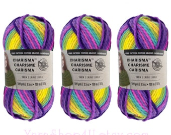 PASSION 3 Pack Bulk Buy! Bulky Charisma Loops & Threads Yarn. Purple Rainbow Ombre Yarn Thick Variegated Chunky Soft Acrylic. 3 skeins √