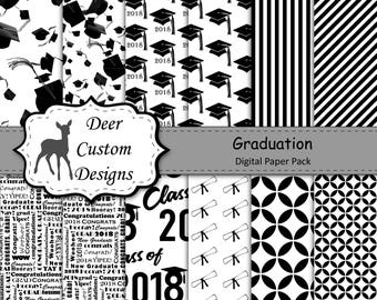 2018 Graduation Paper Pack | Graduation Scrapbook Paper | Printable Graduation Papers | Grad Paper | Printable Grad Papers | Scrapbook Paper