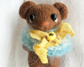 Teddy bear - brooch 2 inch (5cm) Gift Stuffed bear Gift for her Gift for him Valentine's Day gift