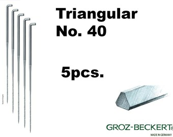 Triangular felting needles, Gauge 40. Price for 5pcs. Made in Germany.
