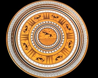 "Retro Round 13.5"" Copper Toned Metal Tin GRECIAN SERVING TRAY Vintage Greek Greece"