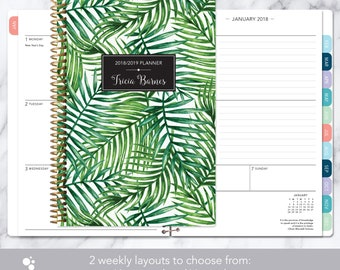 planner 2018 | 2018-2019 weekly planner | calendar student planner add monthly tabs | personalized agenda daytimer | green tropical palms