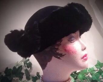 1960s Black Fur-Trim Wool Felt / Vintage  Ladies Hat / Black Ladies Hat