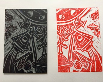 Lino Block and 1 print - retro rocket, space and stars