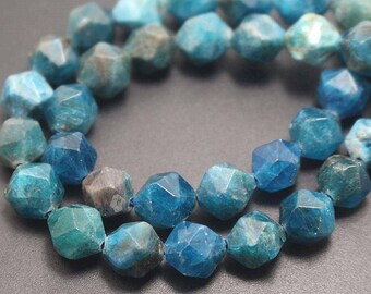 Natural Faceted Apatite Nugget Beads,Apatite Beads,Star Cut Faceted beads,15''one strand 6mm 8mm 10mm 12mm